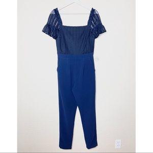 Adelyn Rae | Crochet Top Ruffle Sleeve Jumpsuit